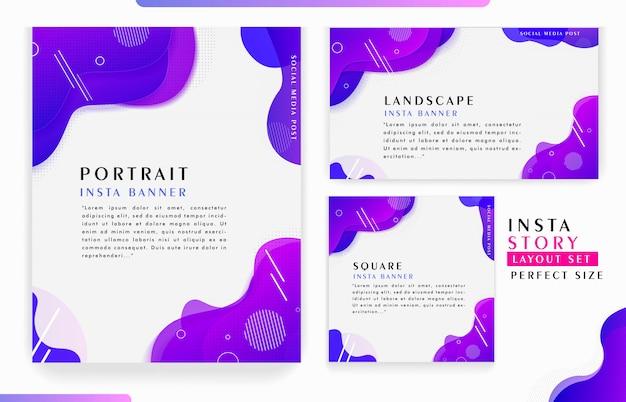 Progettazione dinamica astratta minimalista del modello di storie di instagram