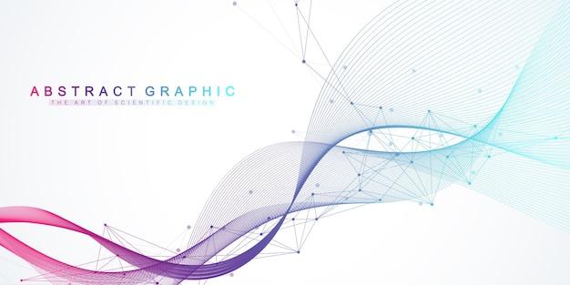 Linee astratte di movimento dinamico e sfondo di punti con particelle colorate. sfondo in streaming digitale, flusso d'onda. sfondo del flusso del plesso. tecnologia big data, illustrazione vettoriale
