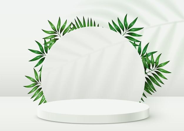 Podio astratto del cilindro del fondo di scena di eco con le foglie su fondo bianco presentazione del prodotto m...