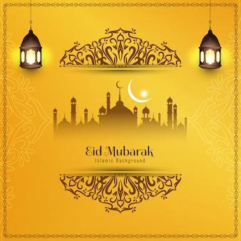 Priorità bassa decorativa elegante astratta di eid mubarak Vettore Premium