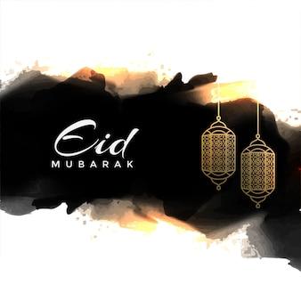 Eid mubarak astratto saluto con lampade a sospensione