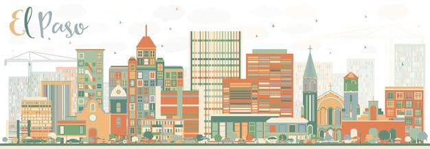 Orizzonte astratto di el paso con edifici di colore. illustrazione di vettore. viaggi d'affari e concetto di turismo con architettura moderna. immagine per presentazione banner cartellone e sito web.