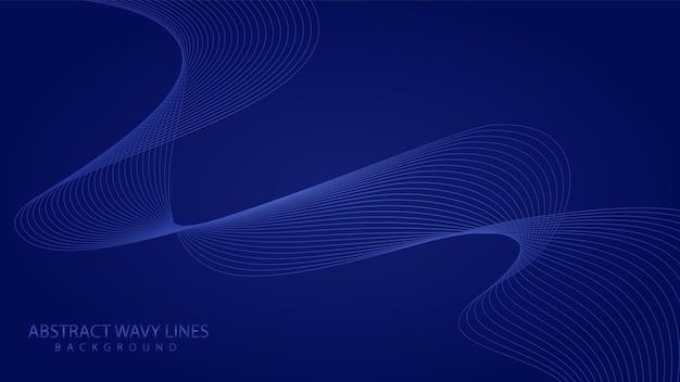 Astratto sfondo blu elegante con onde linea fluente