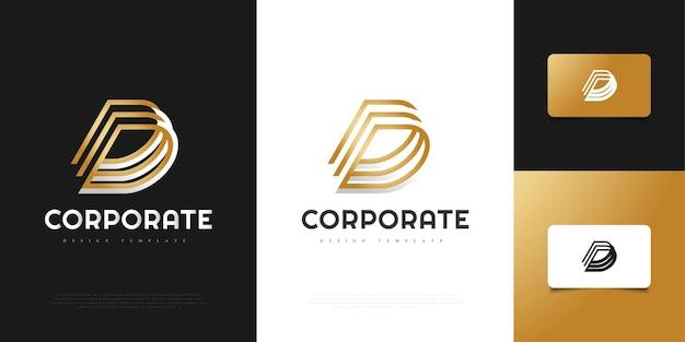 Modello astratto ed elegante di progettazione del logo della lettera d. simbolo grafico dell'alfabeto per l'identità aziendale aziendale