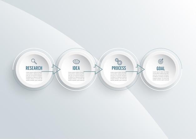 Elementi astratti del modello di infografica grafico con etichetta, cerchi integrati. concetto di affari con 4 opzioni. per contenuto, diagramma, diagramma di flusso, passaggi, parti, infografiche della sequenza temporale, layout del flusso di lavoro.