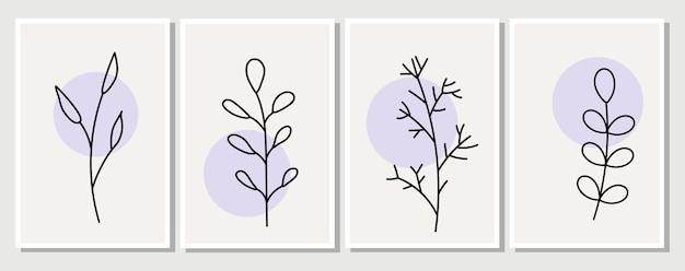 Elementi astratti, elementi floreali semplici minimalisti. foglie e fiori. collezione di manifesti artistici in colori pastello. design per social network, cartoline, stampe. contorno, linea, stile scarabocchio.
