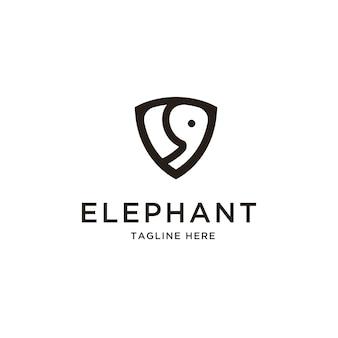 Elefante astratto e scudo logo vettoriale design