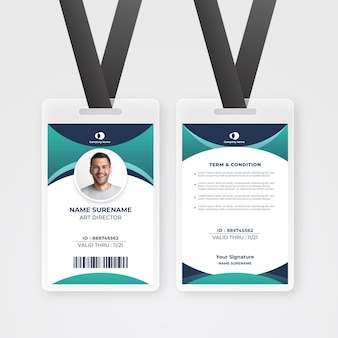 Modello astratto di carta d'identità dei dipendenti con foto