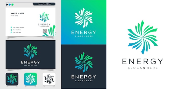 Logo astratto di energia con un design creativo moderno vettore premium