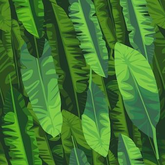 Modello senza cuciture astratto della pianta esotica. carta da parati con foglie di banana. modello tropicale, foglie di palma sfondo floreale vettoriale senza soluzione di continuità.