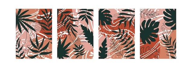 Poster di set esotici astratti sfondo estivo