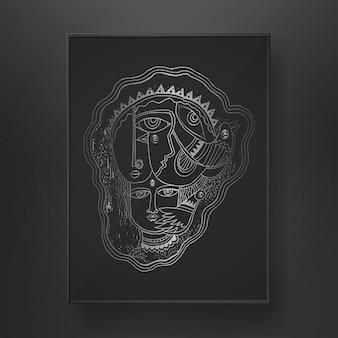 Linea arte astratta del viso disegnata a mano su sfondo scuro con disegno a pennello di uccelli