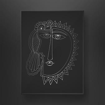 Linea arte astratta del viso disegnata a mano su sfondo scuro