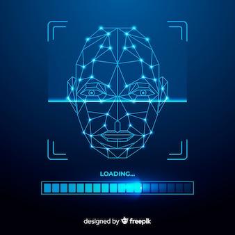 Priorità bassa blu di riconoscimento facciale astratto