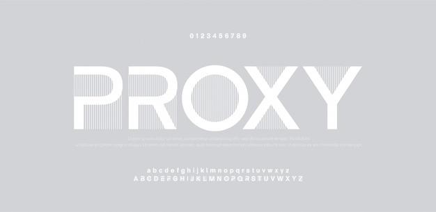 Alfabeto di carattere astratto moda. caratteri urbani moderni minimi. carattere tipografico maiuscolo minuscolo e numero.
