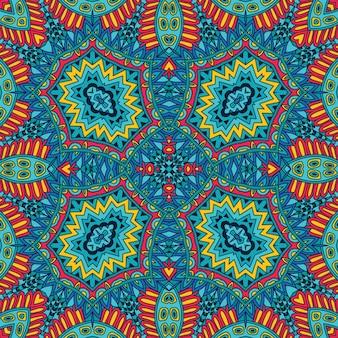 Modello tribale etnico astratto festivo mandala colorata. ornamento geometrico scarabocchio