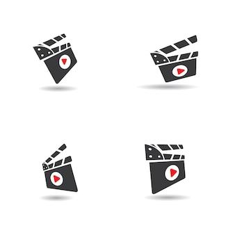 Disegno astratto del modello dell'illustrazione di vettore dell'icona del film