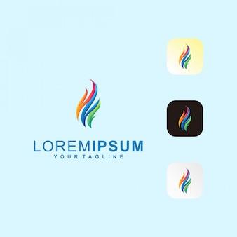 Logo astratto fuoco lettera m premium