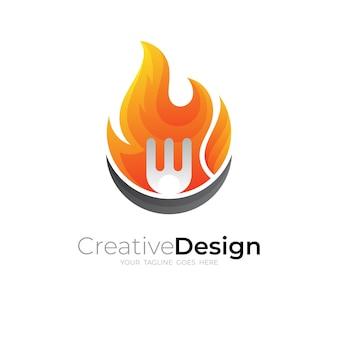 Logo del fuoco astratto e combinazione di design della forcella
