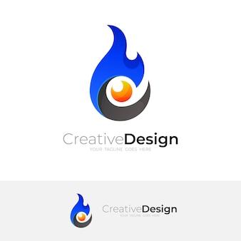 Logo astratto del fuoco con modello di design dell'occhio, fuoco blu