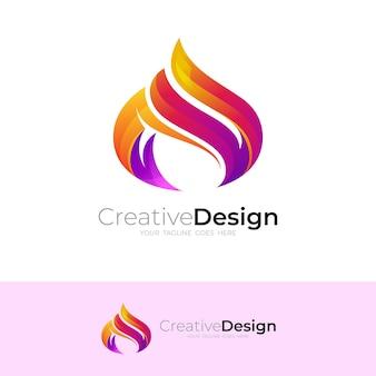 Logo astratto del fuoco con un modello di design semplice, stile 3d