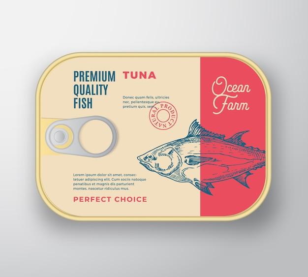 Contenitore in alluminio pesce astratto con coperchio etichetta. confezione in scatola premium retrò.