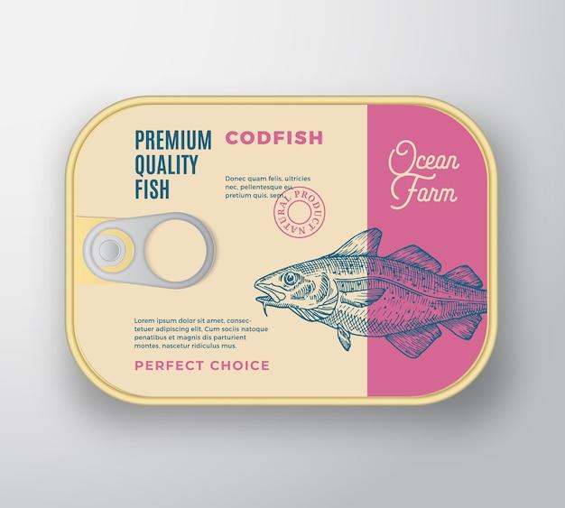 Contenitore in alluminio pesce astratto con coperchio etichetta.