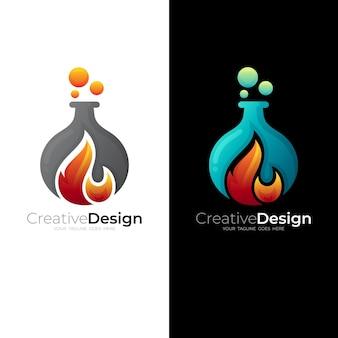 Modello di logo astratto fiamma, icona di laboratorio