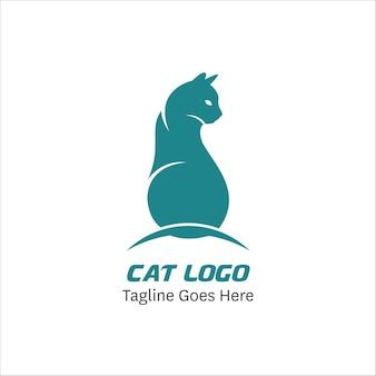 Modello di progettazione di logo astratto gatto piatto abstract