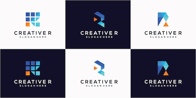 Vettore di logo astratto lettera r design piatto colore semplice e stile moderno