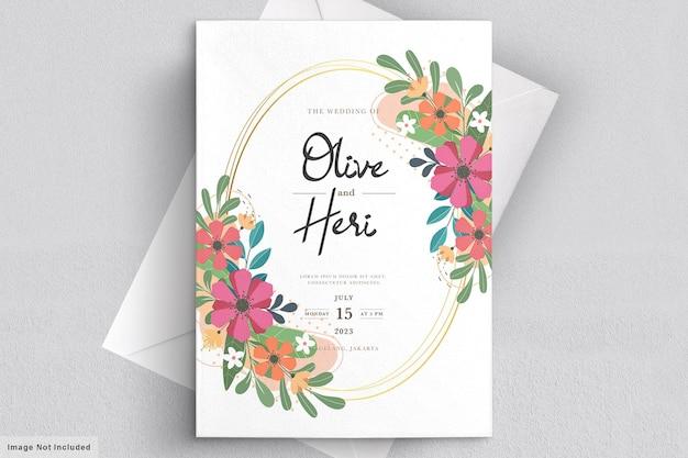 Carta di invito floreale piatto astratto