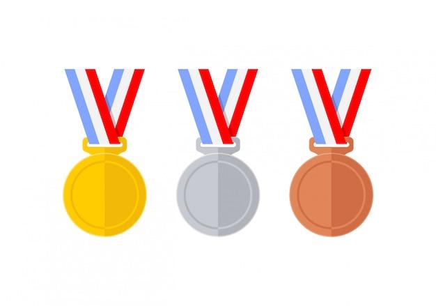 Set di medaglie astratte stile piano