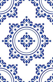 Fondo floreale astratto, modello delle mattonelle di ceramica, progettazione senza cuciture della porcellana