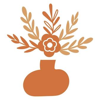 Elementi floreali astratti in un vaso. illustrazione vettoriale.