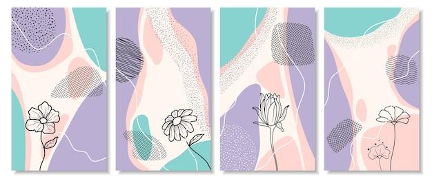 Illustrazioni floreali astratte per storie sui social media