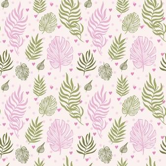 Motivo floreale astratto senza cuciture di foglie di monstera foglie tropicali di colore rosa e verde Vettore Premium