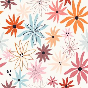 Modello senza cuciture floreale astratto con fiori colorati Vettore Premium