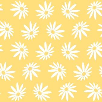 Modello senza cuciture floreale astratto con trame disegnate a mano disegnate a mano alla moda daisy flower