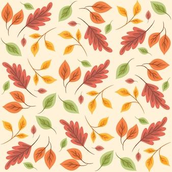 Modello senza cuciture floreale astratto con foglie, motivo autunnale senza cuciture