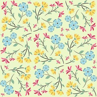 Motivo floreale astratto senza soluzione di continuità con foglie, motivo floreale senza soluzione di continuità alla moda, motivo floreale vintage
