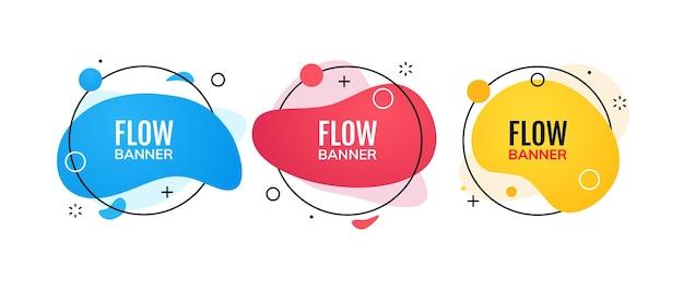 Modello astratto di stile di memphis dell'insegna di flusso. banner futuristico dal design moderno creativo.