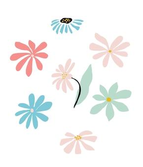 Cornice floreale astratta in colori pastello. ghirlanda estiva con disegno floreale semplice. illustrazione vettoriale isolato su sfondo bianco. modello di carta fiore doodle. composizione alla moda.