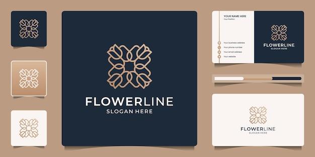 Disegno del logo della linea floreale astratta e modello di biglietto da visita. simbolo di ornamento o mandala di lusso.