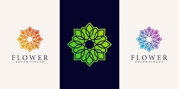 Ispirazione per il design del logo del fiore astratto con uno stile moderno e brillante vettore premium