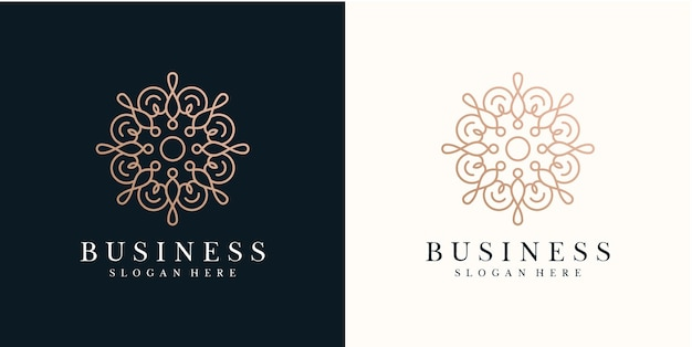 Modello di progettazione di logo di fiori astratti con stile di linea