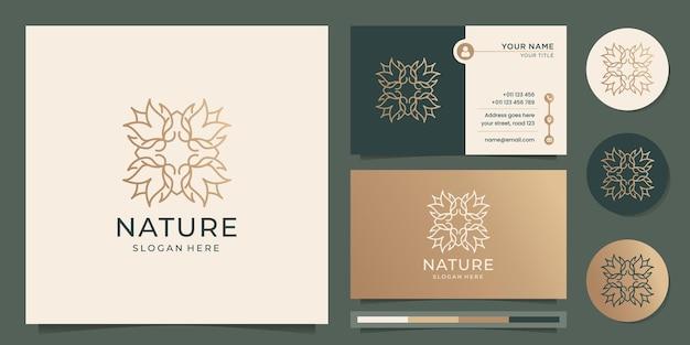 Stile di arte linea logo fiore astratto design di lusso in oro sottile naturale con modello di biglietto da visita vettore premium