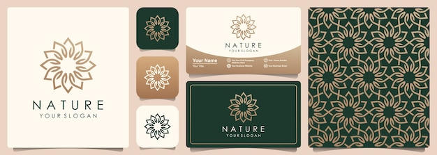 Logo astratto fiore con set di pattern e business card design. logo per uso naturale