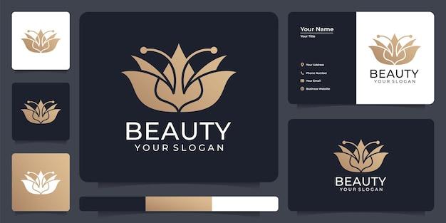 Insieme astratto del disegno del logo di bellezza del loto del fiore