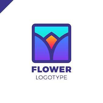 Logo astratto del tulipano del fiore nella progettazione quadrata di vettore dell'icona. elegante simbolo premium lineare.