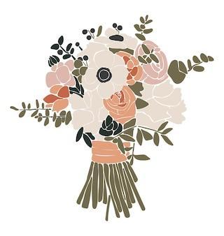 Illustrazione isolata bouquet di fiori astratti